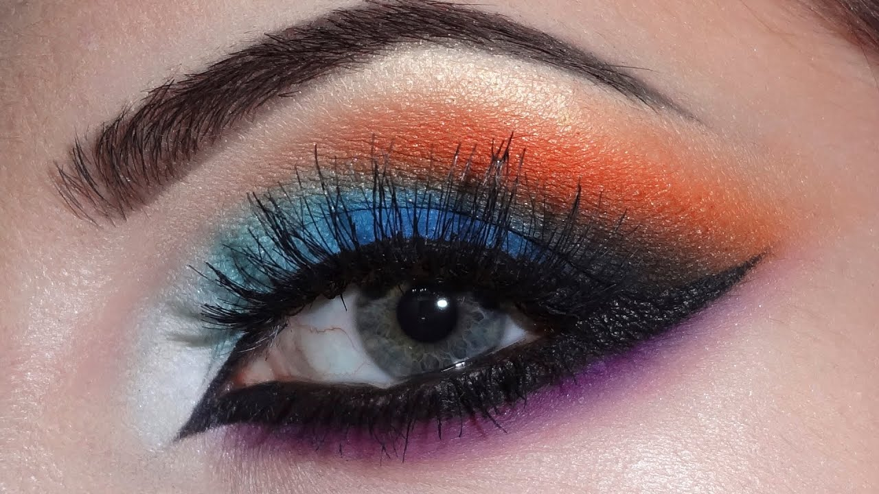Arabic Makeup Blueorangepurple Youtube