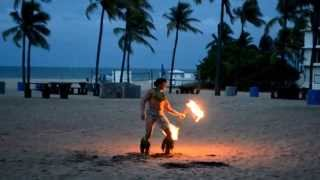 Samoan Fire Knife dance performed on the Beach