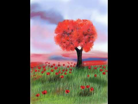 Red tree and poppies landscape. Speed digital painting step by step.