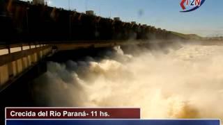 Crecida del Rio Paraná: Represa de Yacyretá: compuertas abiertas. 09/06/2014