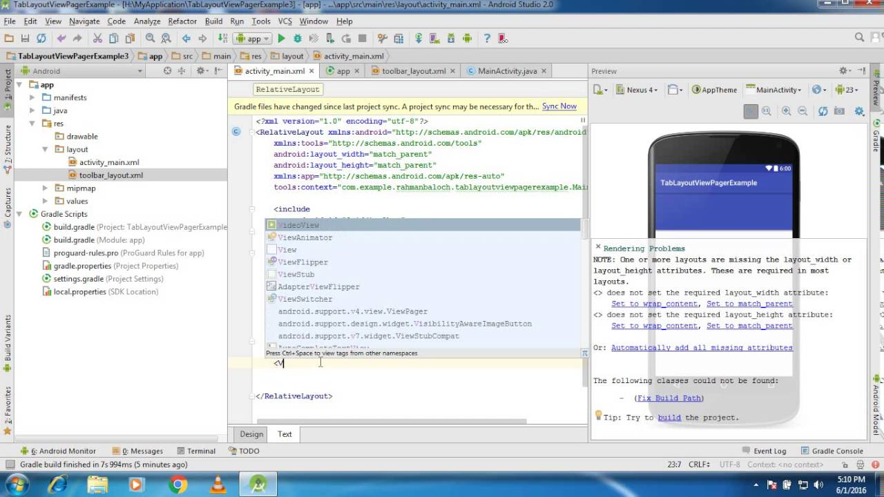 Android TabLayout Using ViewPager Example Part 1