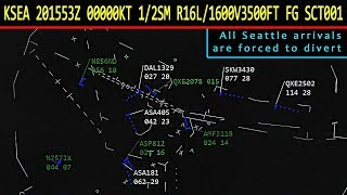[REAL ATC] Bad weather at Seattle forces flights to divert to Portland!