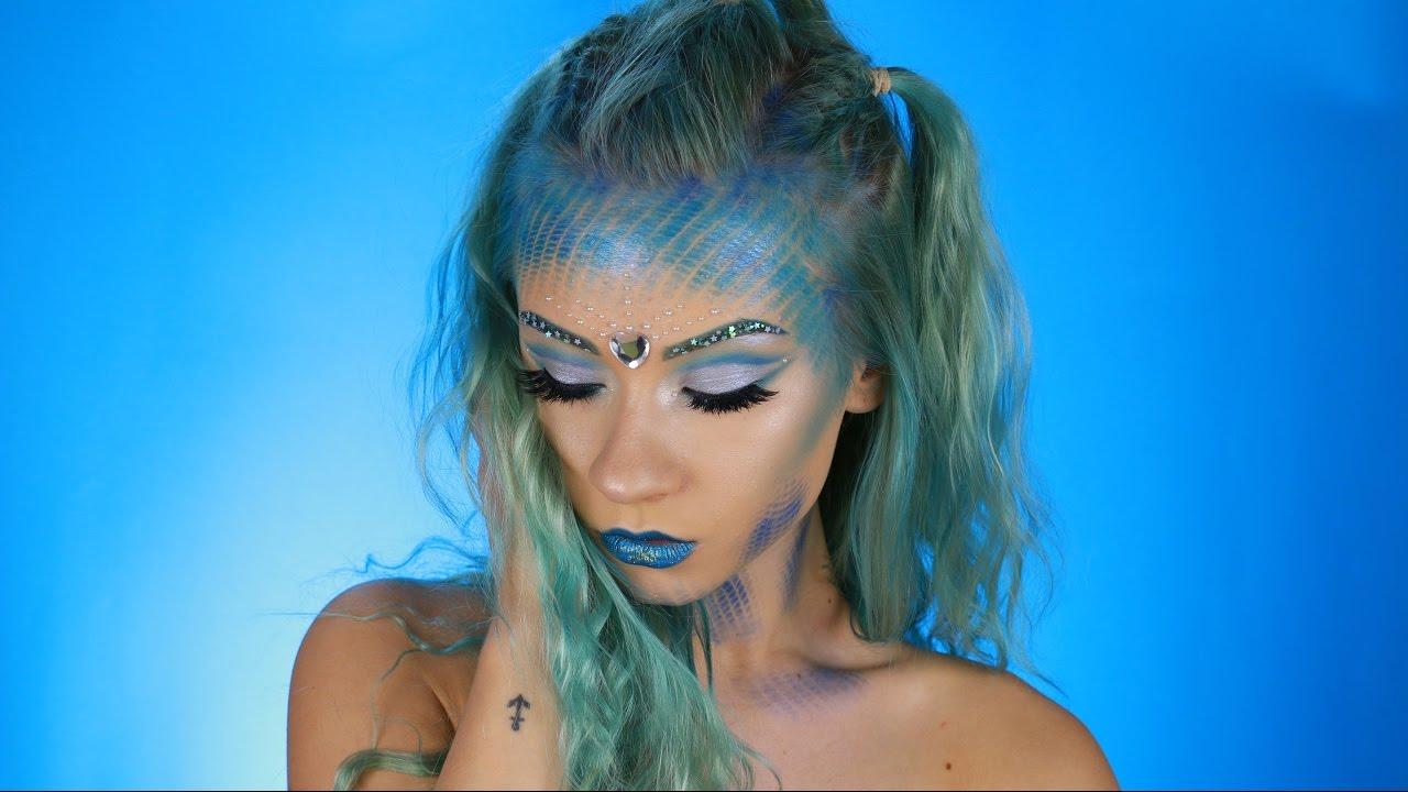 Mermaid Halloween Makeup Look   2016 - YouTube