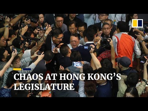 Hong Kong extradition bill battle descends into chaos, leaving lawmaker injured