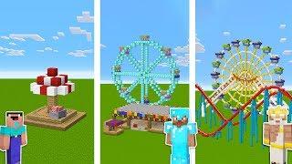 Minecraft Noob Vs Pro Vs God  Theme Park Challenge In Minecraft  Animation