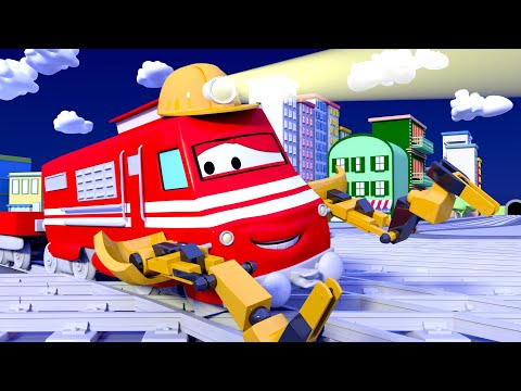 Troy der Zug -  Troy the Electrician Train turns the Lights On ! - Cartoons für Kinder 🚓 🚒