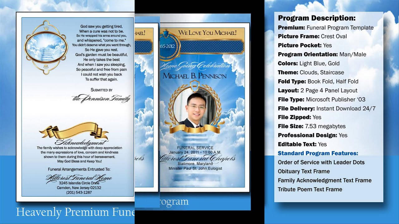 Heavenly Funeral Program Obituary YouTube – Free Printable Obituary Program Template