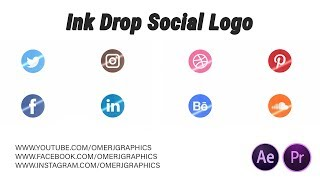 ink drop social logo | Free After Effects and Premiere Pro Template | OMER J GRAPHICS