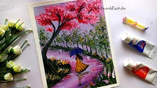 Beautiful Rainy day painting | Girl in a Rainy day painting | Monsoon painting with acrylic color