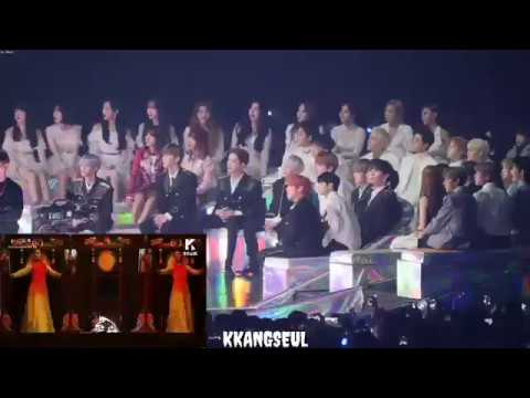 Download 120118 BLACKPINK, Wanna One, GFRIEND, iKON Reaction to BTS 'IDOL' at Melon Music Awards 2018
