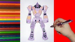 How to draw robot Noisy Boy, Real Steel, Как нарисовать робота Нойзи Бой, Живая Сталь