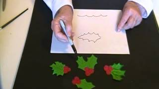 How to draw Holly Leaves and Berries