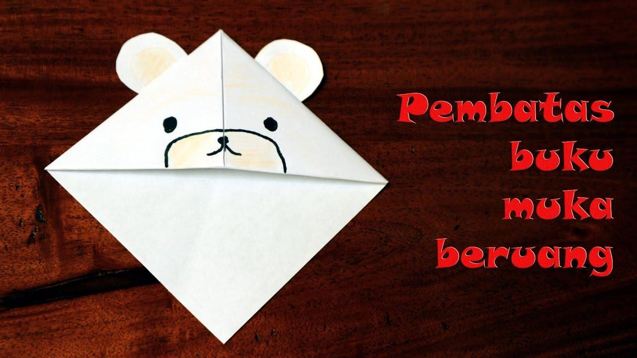 Cara membuat origami pembatas buku beruang kutub
