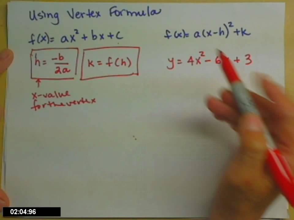 Vertex Formula Youtube