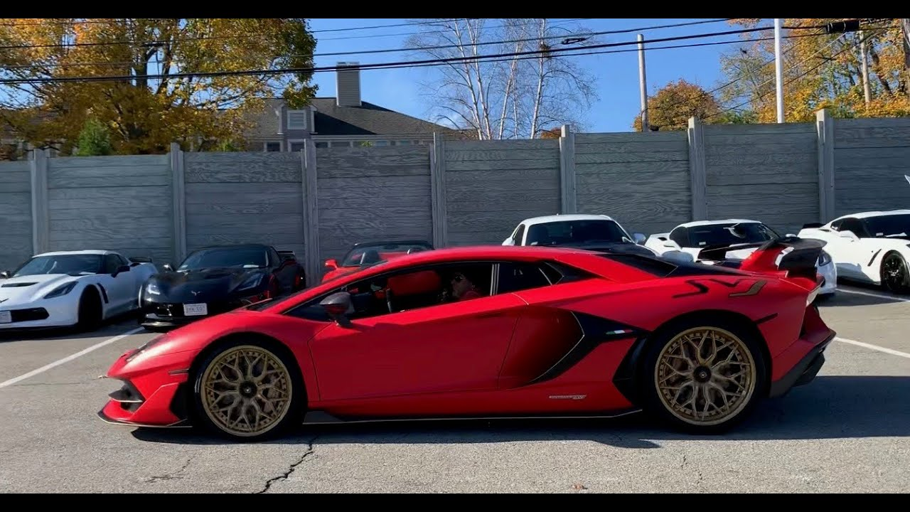 Supercars Leaving Cars And Coffee At Ferrari Of New England Porsche 918 Aventador Svj And More