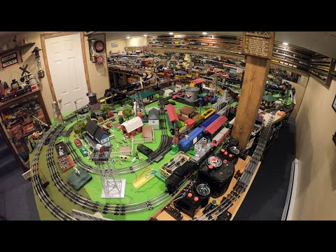 Huge Lionel O Gauge Model Train Display Full Tour!  25 years old! Wait until you see it in the dark!