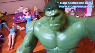 Hulk boneco Marvel dormiu ! Boneca baby Alive Loira caixinha de música e menina cantando