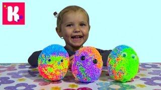 Куры и цыплята в сюрприз яйце из шарикового пластилина игрушки Hens and chickens toys in magic eggs