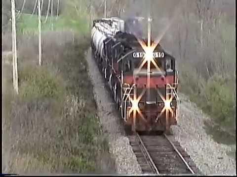 Guilford Rail west bound freight through Madbury NH Spring 1999