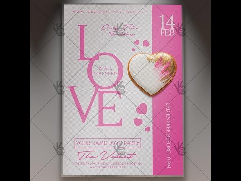 Love Party - Valentines Flyer PSD Template