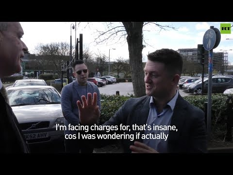 Tommy Robinson responds to a reporter about his harassment case