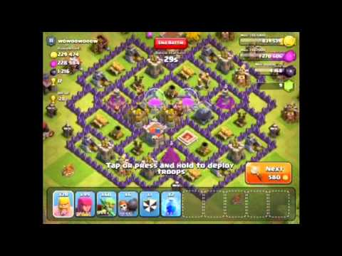 Clash of clans attacking with tier one troops