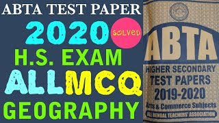Download H.S ABTA TEST PAPER SOLVED MCQ SUBJECT GEOGRAPHY 2020
