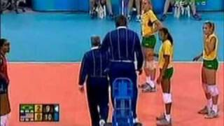 2004 Olympic game women volleyball Logan Tom got a yellow card