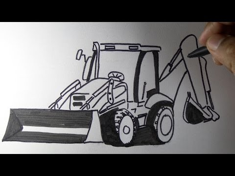 How to draw a JCB backhoe loader machine Drawing.
