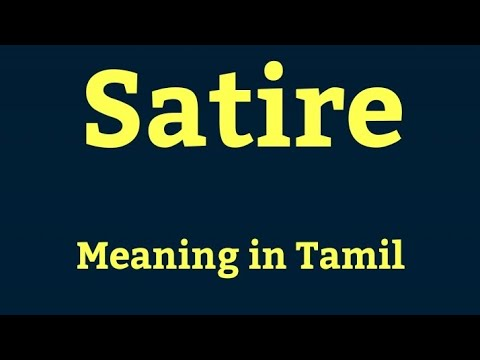 Satire Meaning In Tamil Youtube