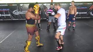 "Rafael ""Ataman"" Fiziev teaching a kickboxing combination"