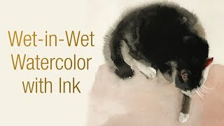 Animals #22 - Watercolor animal painting of cat with wet-in-wet (Part 1 of 2)