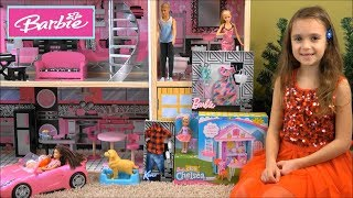 Barbie: Give Chelsea a Gift Day in Barbie Sparkle Mansion with Barbie Club Playhouse, Kinder Eggs