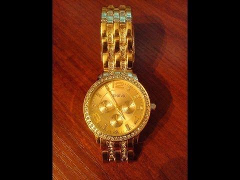 Посылка Из Китая(золотые женские часы GENEVA )