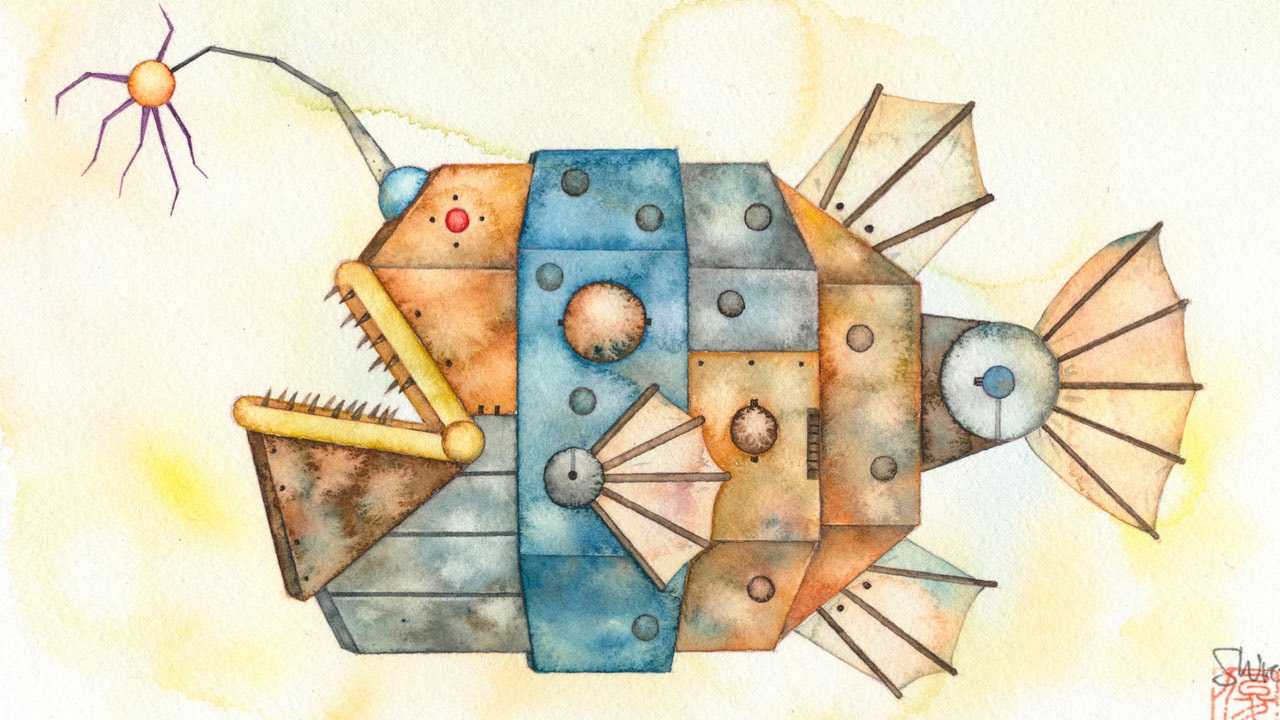 水彩イラストメイキング機械の魚の描き方how To Watercolor Painting