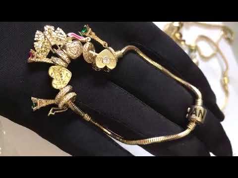 Роскошные золотые браслеты Pandora