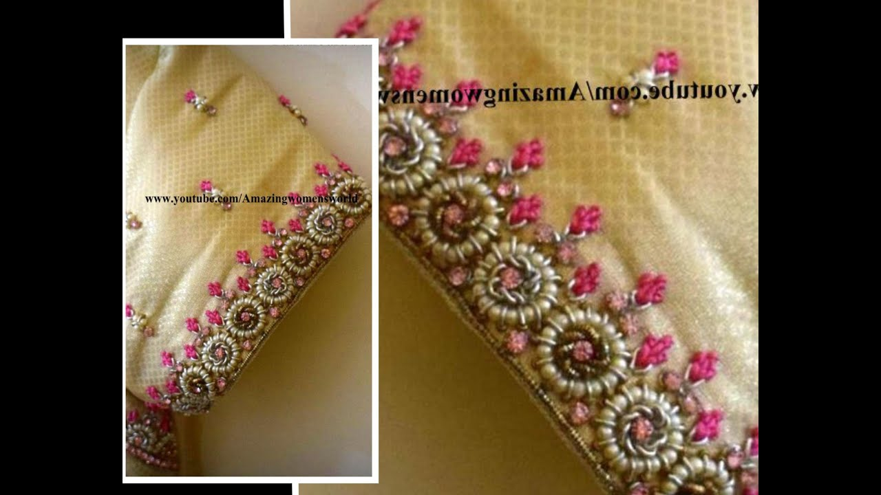 Most Super Cutest Pearl Designing with Normal Stitching Needle-Same Like Aari/Maggam work/Embroidery