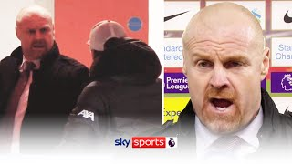 Sean Dyche reacts to his heated clash with Jurgen Klopp at half-time