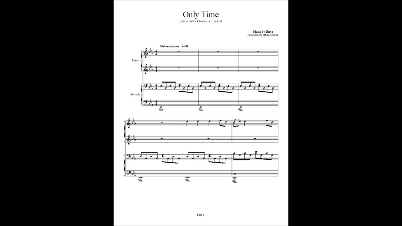 Only Time Piano Duet Enya