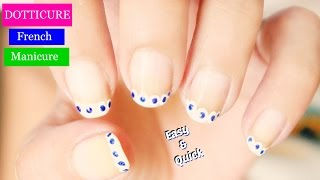 Polka dots French Manicure Nail Art design | Easy Nail Art For Beginners