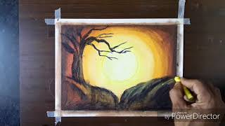 Sunset drawing easy with oil pastel | how to draw Sunset scenery with oil pastel