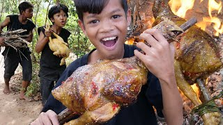 Primitive Technology - Awesome cooking big chicken and eating delicious Part 018
