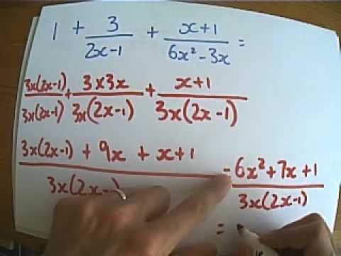 Adding and subtracting algebraic fractions - exam style examples - algebraic subtraction worksheets