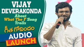 Vijay Deverakonda Reaction To 'What The F' Song Trolls At Geetha Govindam Audio Launch | Rashmika
