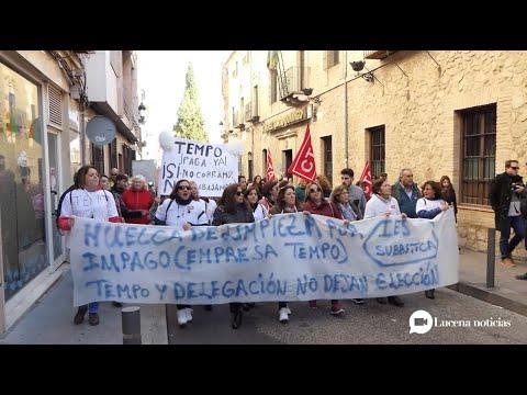 VÍDEO: Las trabajadoras de TEMPO se manifiestan por Lucena y advierten de la situación insostenible