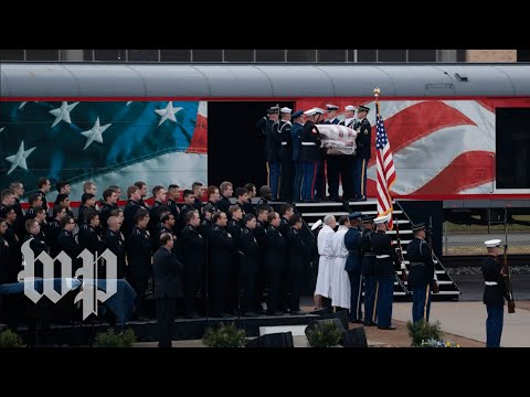 After journey on train, Bush's casket arrives in College Station, Texas for burial