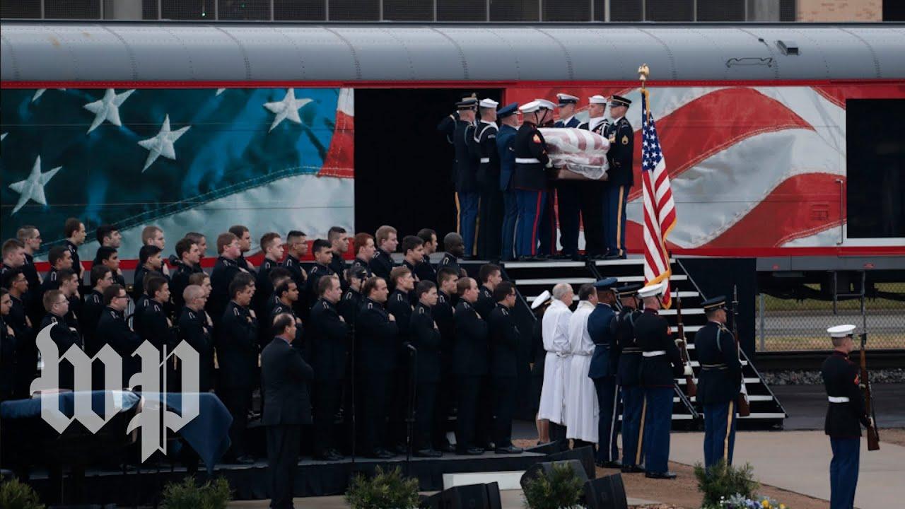 After Journey On Train Bush S Casket Arrives In College Station