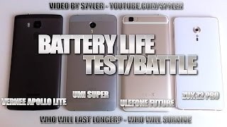 Batterylife Battle/Test - Vernee Apollo Lite vs. UMI Super vs. Ulefone Future vs. ZUK Z2 Pro