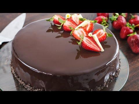 Strawberry Chocolate Mirror Cake
