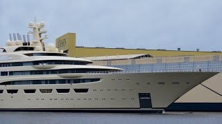 New MEGA Yacht Float Out - Project Omar - Dilbar - World biggest Yacht